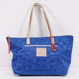 Coach Blue Nylon Leather Weekend Tote